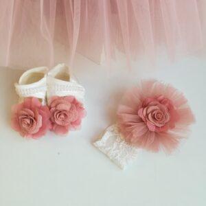 "Rochita botez + accesorii ""Adelina"" trena roz prafuit"