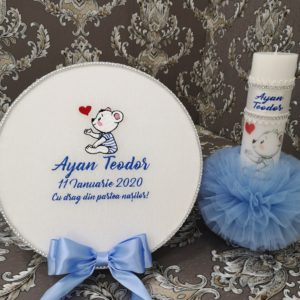 Pachet complet botez Ursulet blue cu inimioara