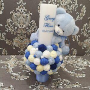 Lumanare botez ursulet si gheme BLUE